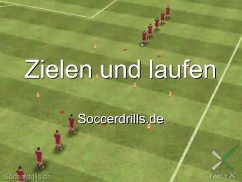 Zielen und laufen - Aufwärmen - Fußballtraining auf Soccerdrills.de