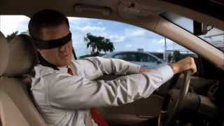 Drivers Wearing a Blindfold — Distracted Driving