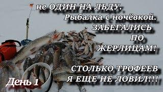 не ОДИН НА ЛЬДУ  Рыбалка с ночёвкой  ЗАБЕГАЛИСЬ ПО ЖЕРЛИЦАМ СТОЛЬКО ТРОФЕЕВ Я ЕЩЕ НЕ ЛОВИЛ!!! День 1