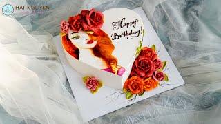 AMAZING PAINTING BEAUTIFUL GIRL AND ROSE ON CAKE| Bánh Vẽ Thiếu Nữ Trang Trí Hoa Xinh Đẹp
