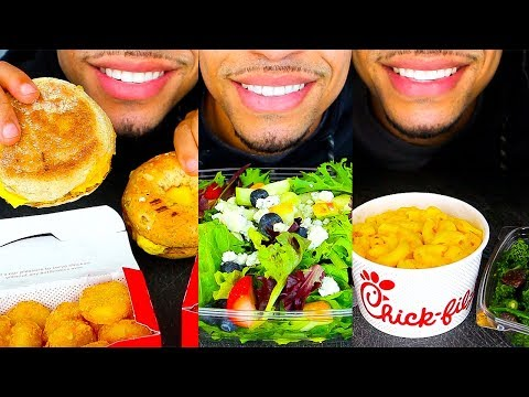 ASMR EATING CHICK-FIL-A FOR 24 HOURS JERRY CHALLENGE NO TALKING MUKBANG BREAKFAST LUNCH AND DINNER