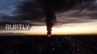 USA: Ogromny pożar przemysłowy w Compton zaciemnia niebo LA