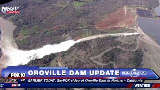 FNN: Oroville Dam Aerials - Threatened by Upcoming Rain Wednesday - 188,000 CA Residents Evacuated