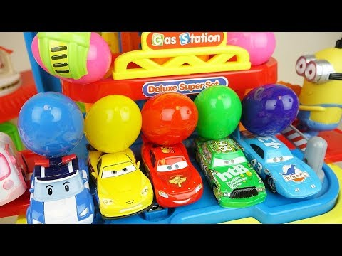 Station cars  with surprise eggs toys play