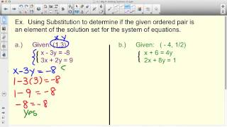 Substitute ordered pairs into system to verify a solution