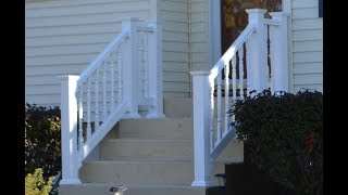 Vinyl Railing Attached To Concrete Patio & Stairs