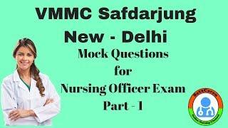 Safdarjung Nursing Officer Exam Mock Questions For 07102018 Part   1