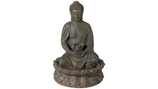 "Meditating Buddha Antique Bronze 19""H LED Lighted Fountain"