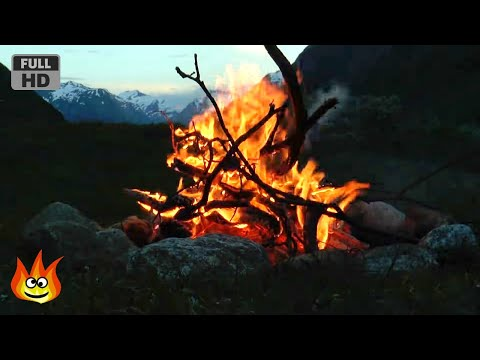 Crackling Mountain Campfire with Relaxing River, Wind and Fire Sounds (HD)