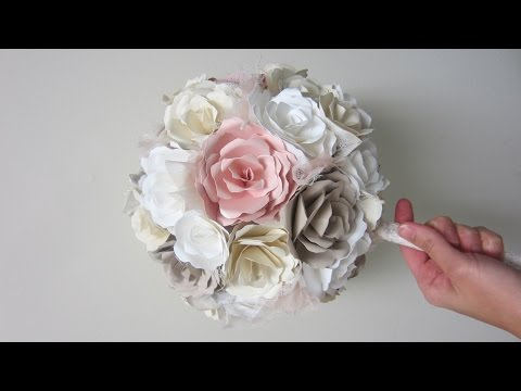 Νυφική ανθοδέσμη με λουλούδια από χαρτί