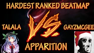 HARDEST RANKED BEATMAP - talala vs Gayzmcgee in Spawn of Possession - Apparition[Blind Faith] - osu!
