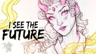 I See the Future ♦ Sketch with Me ♦ Demon Girl Art