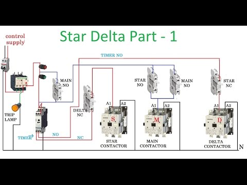 Star delta starter control circuit in hindi electric guru star delta starter motor control with circuit diagram in hindi part 1 ccuart Images