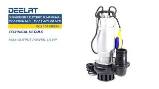 Submersible Electric Sump Pump - Max Head 32 FT (10 M) - Max Flow 265 GPM (60 m3/H)