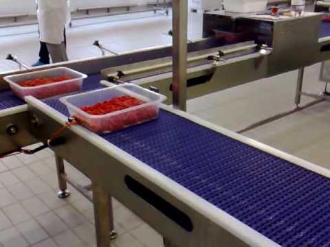 RIVAC / COMETEC - Linea di alimentazione e trasporto vaschette su nastri trasportatori