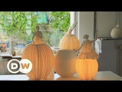 Lamps like glowing sculptures | Paper lamps | Papier-mâché designer lamps