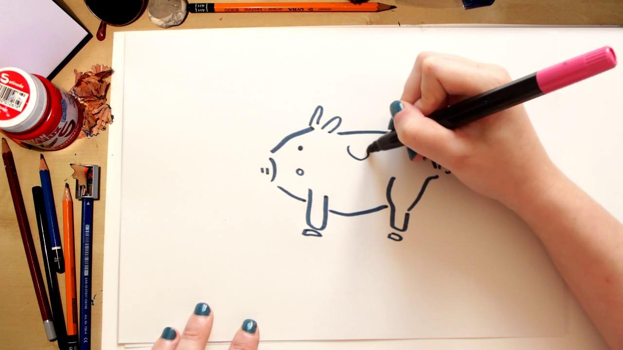 Como desenhar um Porco - desenhos para crianças