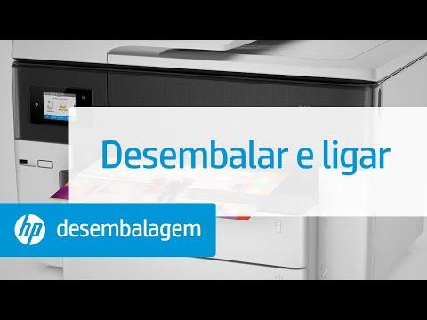 Desembalar e ligar a impressora multifuncional de grandes formatos HP OfficeJet Pro das séries 7730, 7740