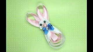Украшение на заколку Канзаши / Пасхальный Кролик / Easter Bunny