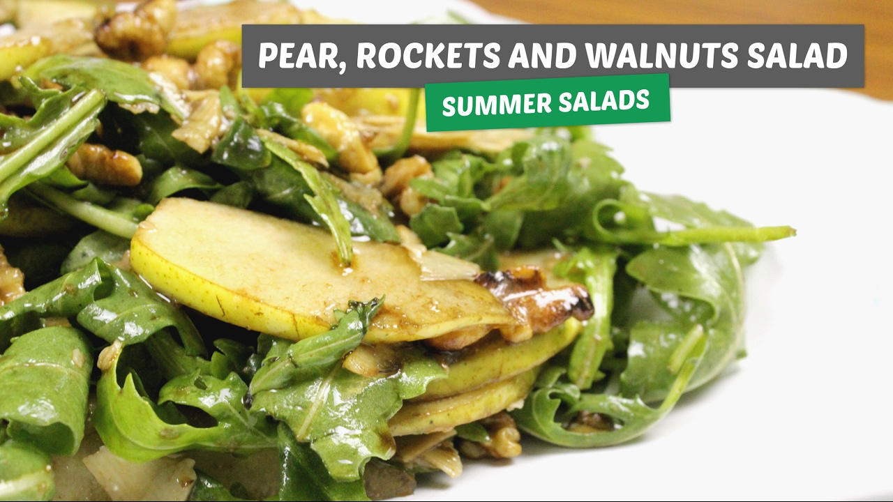 Pear, rocket and walnuts salad | Summer salads #5 - I am Kika