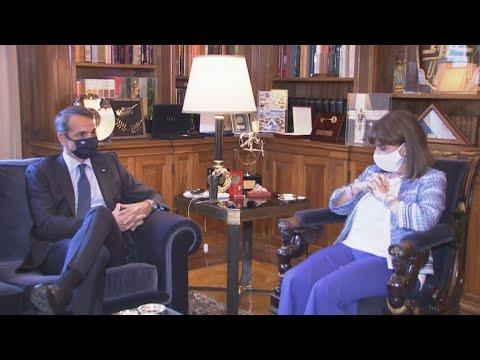 Συνάντηση του Πρωθυπουργού με την ΠτΔ Κατερίνα Σακελλαροπούλου