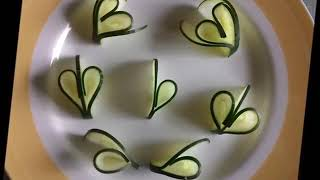 Easy But Attractive Art With Cucumber. Salad Decoration