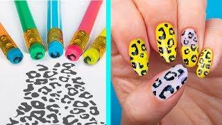 11 лайфхаков для ногтей / Нейл-арт канцелярией против обычного маникюра!