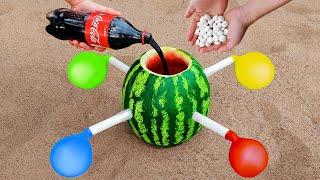Coca Cola & Mentos Vs Watermelon with Balloons 🍉