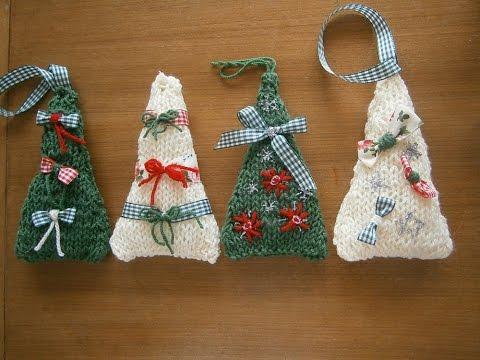 Πλεκτά Χριστουγεννιάτικα δενδράκια με βελόνες