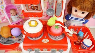 Baby doll red kitchen toys cooking play