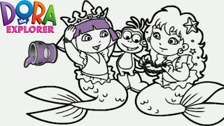 Dora The Explorer Mermaid Princess Nick Jr Coloring Book Game For Children