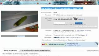 EHEC GURKE        GARANTIERT EHEC FREIE GURKE!  EBAY 10 millionen EURO     EHEC cucumber