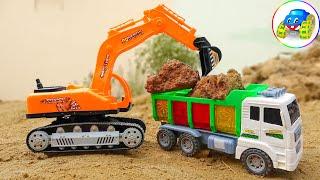 Crane truck, toy excavator help bus in danger - Kid Studio