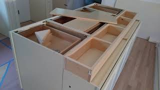 How To Build And Make A Double Sided Kitchen Island From Wall Cabinets   Diy Kitchen Island Ideas