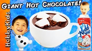 Worlds Biggest WARM CHOCOLATE Surprise Egg! TOYS + Make A HUGE Cocoa Drink By HobbyKidsTV