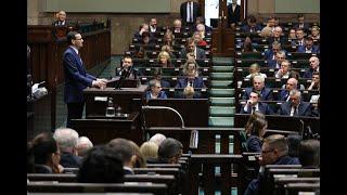 Mateusz Morawiecki podczas przemówienia w Sejmie na temat sytuacji na Bliskim Wschodzie