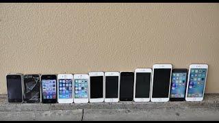 Разбиваем все iPhone тест 6S+vs 6S vs 6+vs 6 vs5S vs5C vs5vs4S vs4vs3Gs vs3G vs2G Drop Test