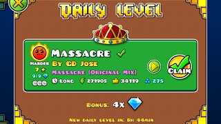 Geometry Dash [2.1] | Daily Level 08/02/17 | Massacre by GD Jose (3 coins)
