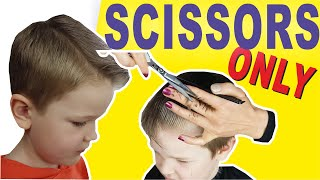 HOW TO CUT BOYS HAIR AT HOME | SCISSOR HAIRCUT TUTORIAL |