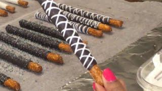 Chocolate Covered Pretzel Rods / How To Make Dipped Pretzels