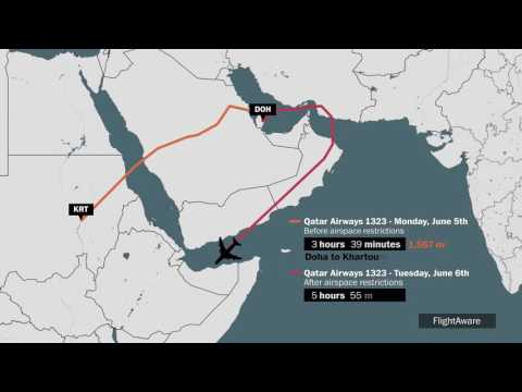 It now takes twice as long to fly Qatar Airways from Doha to Khartoum