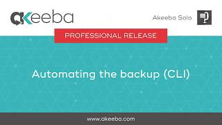 Watch a video on Automating the Backup (CLI) [03:05]