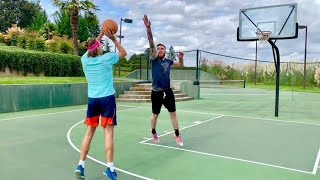 """Trash Talking 1v1 vs 6'10"""" Ex D1 Hooper! Loser Jumps In Pool With Clothes On!"""