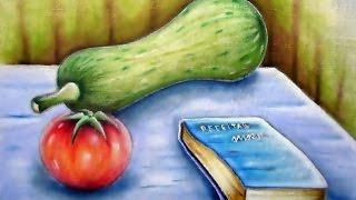 Abobrinha , Tomate e Bloquinho – Pintura em Tecido