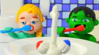 Superhero Babies Go To Bed ❤ Frozen Elsa & Hulk Play Doh Cartoons & Stop Motion Movies | Kholo.pk