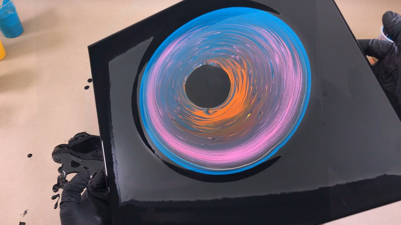 acrylic fluid art painting the black hole technique by tiktus color art