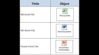 How to insert an Object file in MS Excel?