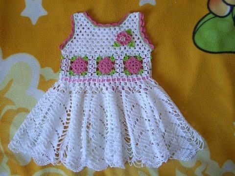 9ab75154a vestido para niña tejidos a crochet parte 1, vestidos para niñas de 1 ,2,3  años tejidos en crochet, vetiditos a ganchillo
