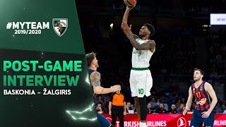 Nigel Hayes talks after victory against Baskonia in Vitoria