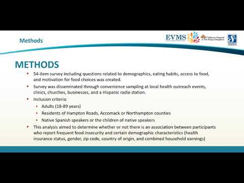 Thumbnail image of video presentation for Characterizing Food Security Within Hispanic Communities of Hampton Roads, Accomack and Northampton Counties